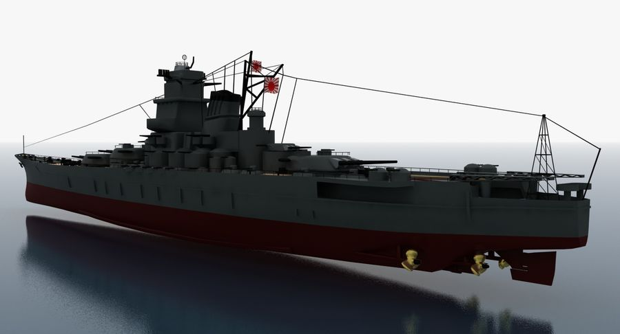 Battleship Yamato royalty-free 3d model - Preview no. 10