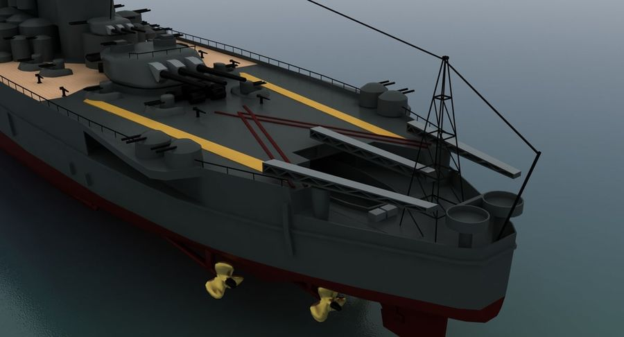 Battleship Yamato royalty-free 3d model - Preview no. 16