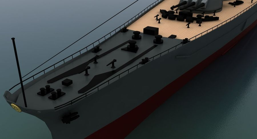 Battleship Yamato royalty-free 3d model - Preview no. 13