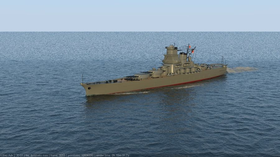Battleship Yamato royalty-free 3d model - Preview no. 4