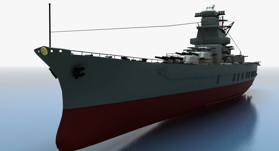 Battleship Yamato royalty-free 3d model - Preview no. 25