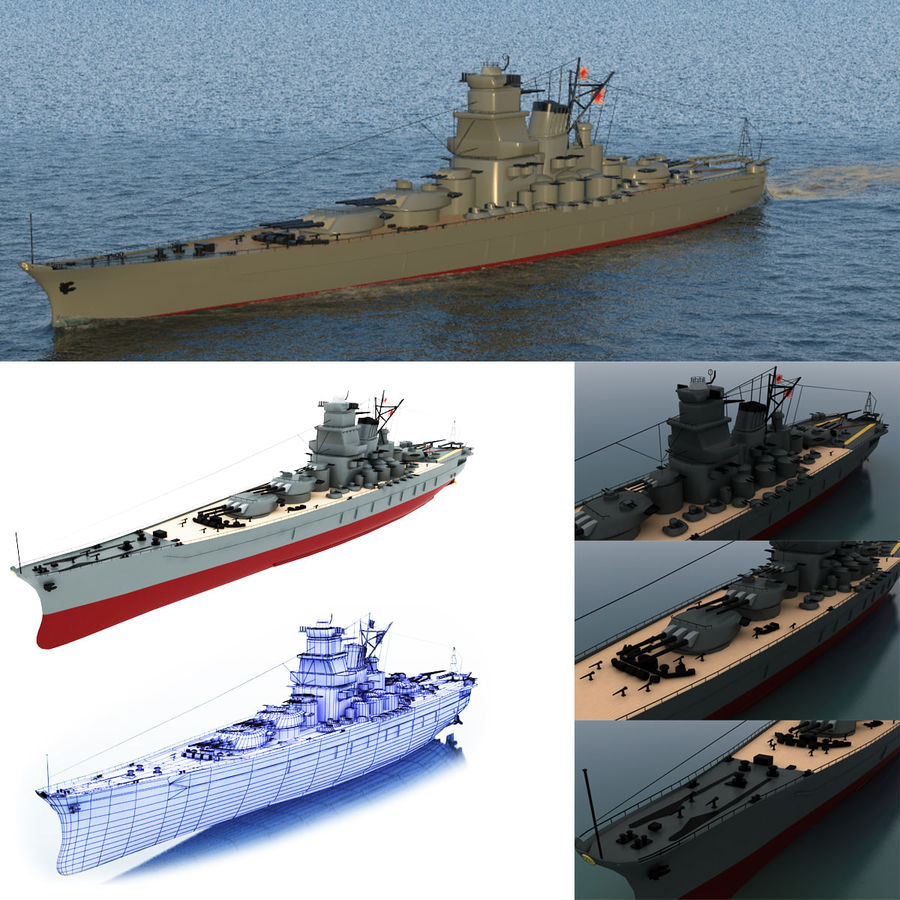 Battleship Yamato royalty-free 3d model - Preview no. 1
