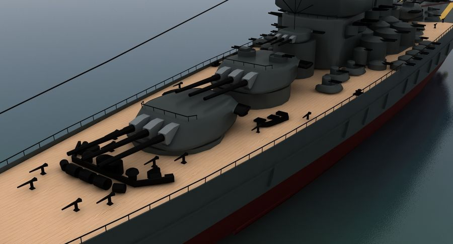 Battleship Yamato royalty-free 3d model - Preview no. 14