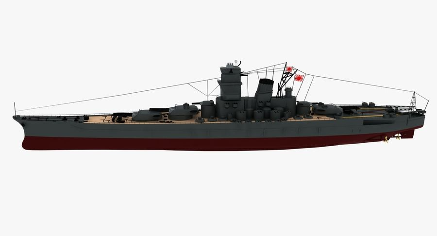 Battleship Yamato royalty-free 3d model - Preview no. 18