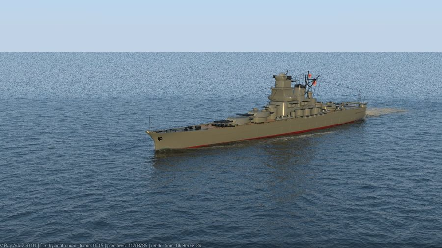 Battleship Yamato royalty-free 3d model - Preview no. 2