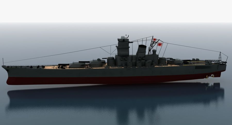 Battleship Yamato royalty-free 3d model - Preview no. 9