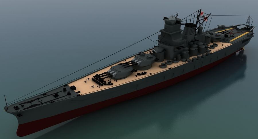 Battleship Yamato royalty-free 3d model - Preview no. 12
