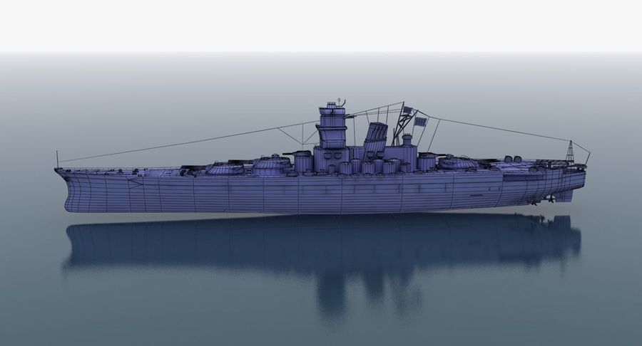 Battleship Yamato royalty-free 3d model - Preview no. 29