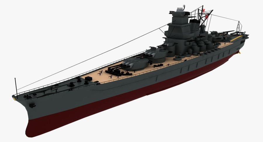 Battleship Yamato royalty-free 3d model - Preview no. 8