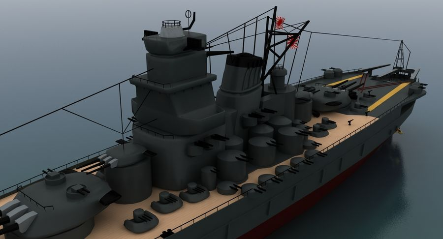 Battleship Yamato royalty-free 3d model - Preview no. 15