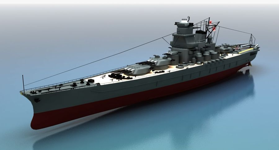 Battleship Yamato royalty-free 3d model - Preview no. 22