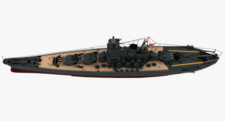 Battleship Yamato royalty-free 3d model - Preview no. 19