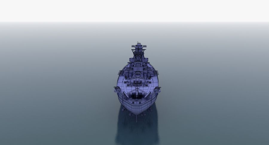 Battleship Yamato royalty-free 3d model - Preview no. 28