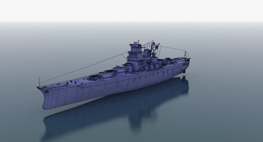 Battleship Yamato royalty-free 3d model - Preview no. 26