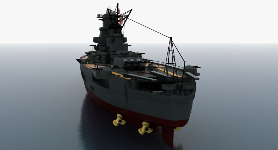 Battleship Yamato royalty-free 3d model - Preview no. 11