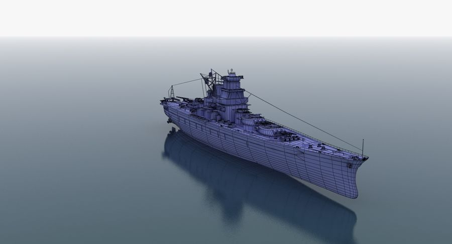 Battleship Yamato royalty-free 3d model - Preview no. 27