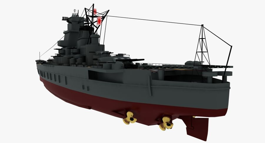 Battleship Yamato royalty-free 3d model - Preview no. 21
