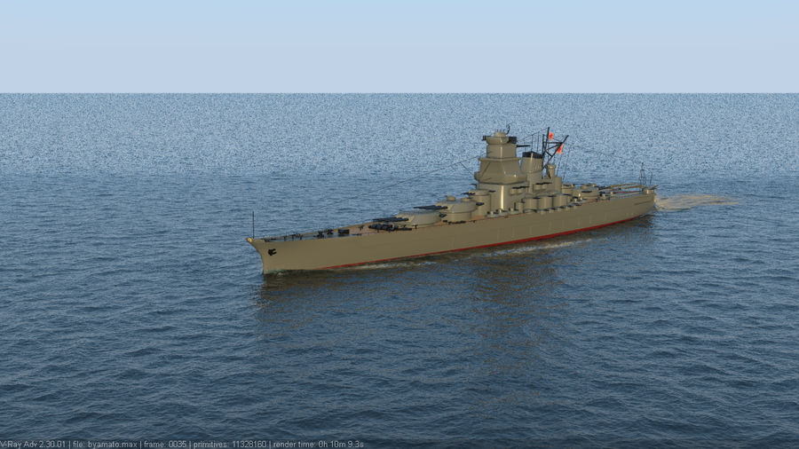 Battleship Yamato royalty-free 3d model - Preview no. 3