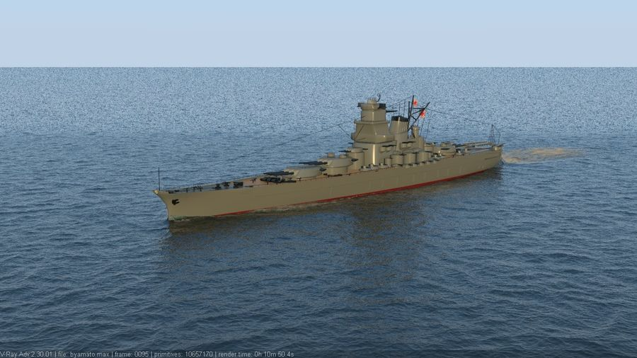 Battleship Yamato royalty-free 3d model - Preview no. 6