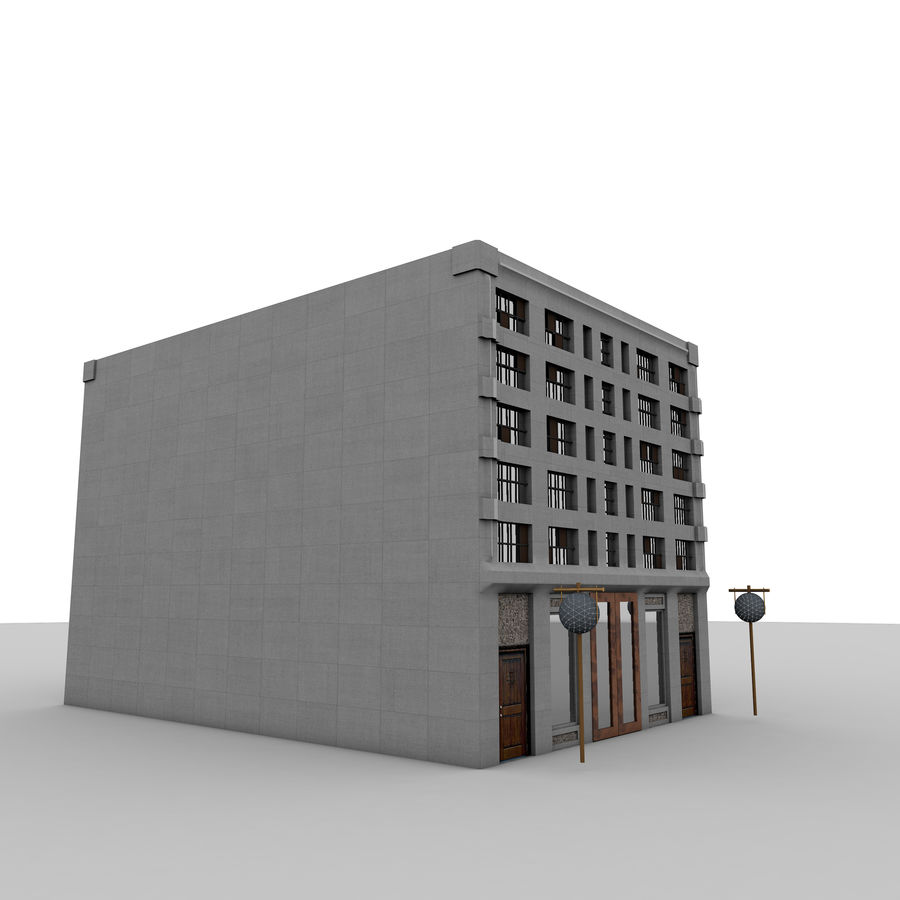 Concrete Building Exterior royalty-free 3d model - Preview no. 2