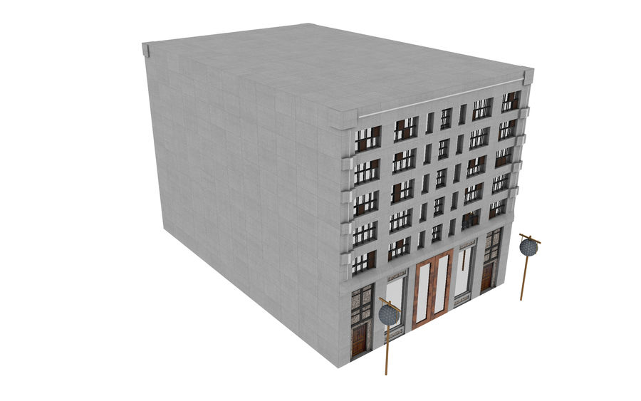 Concrete Building Exterior royalty-free 3d model - Preview no. 6