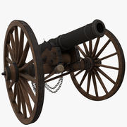 6 Pounder Field Cannon 3d model