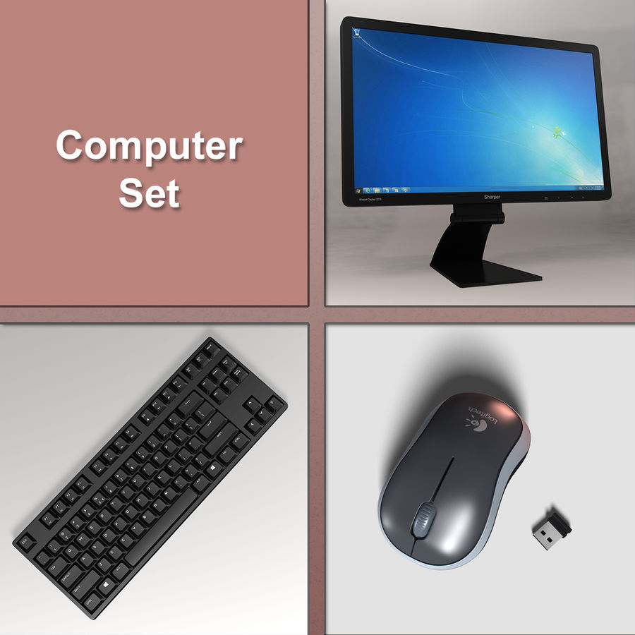 PC Computer Set royalty-free 3d model - Preview no. 1