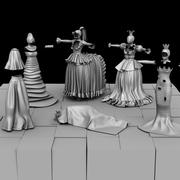 Chessboards and Chess Costumes 3d model