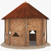 African Cottage Low Poly 3d model