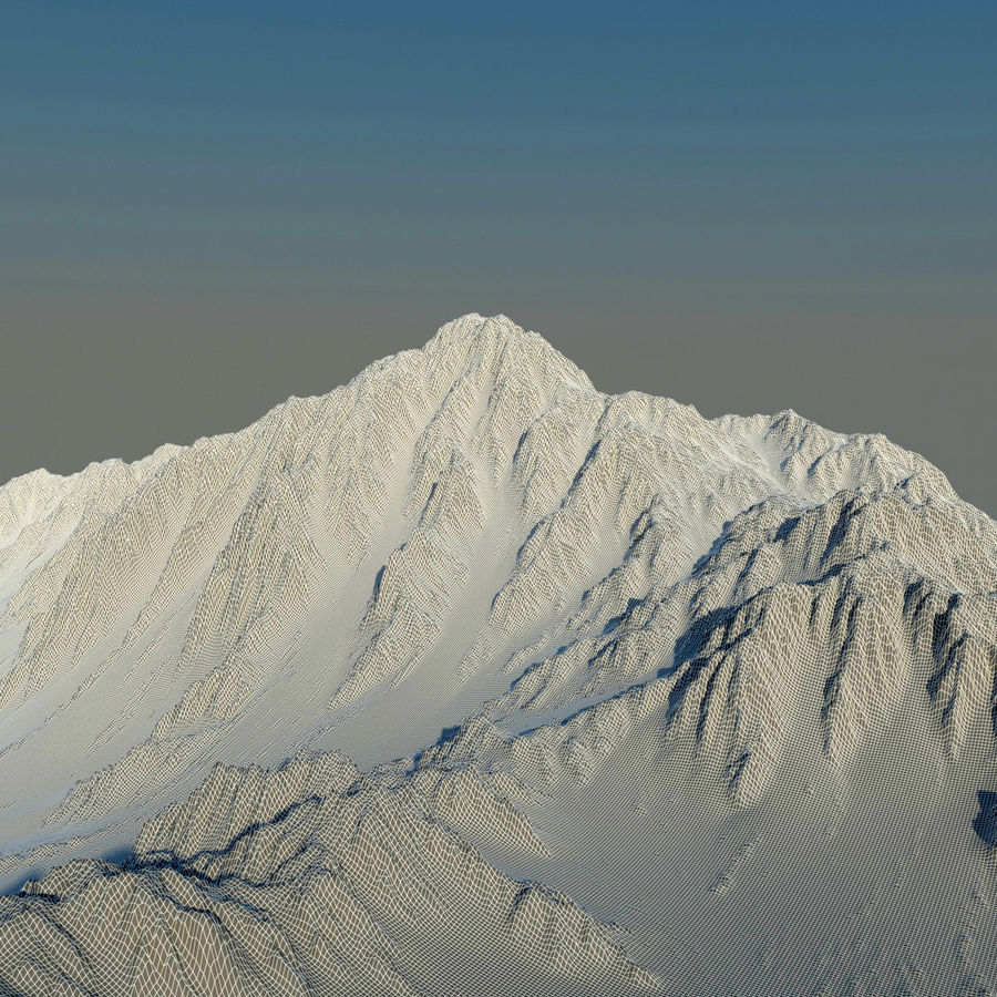 Mountains terrain royalty-free 3d model - Preview no. 7