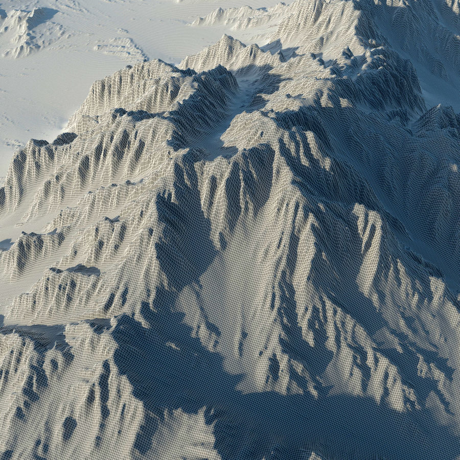Mountains terrain royalty-free 3d model - Preview no. 10