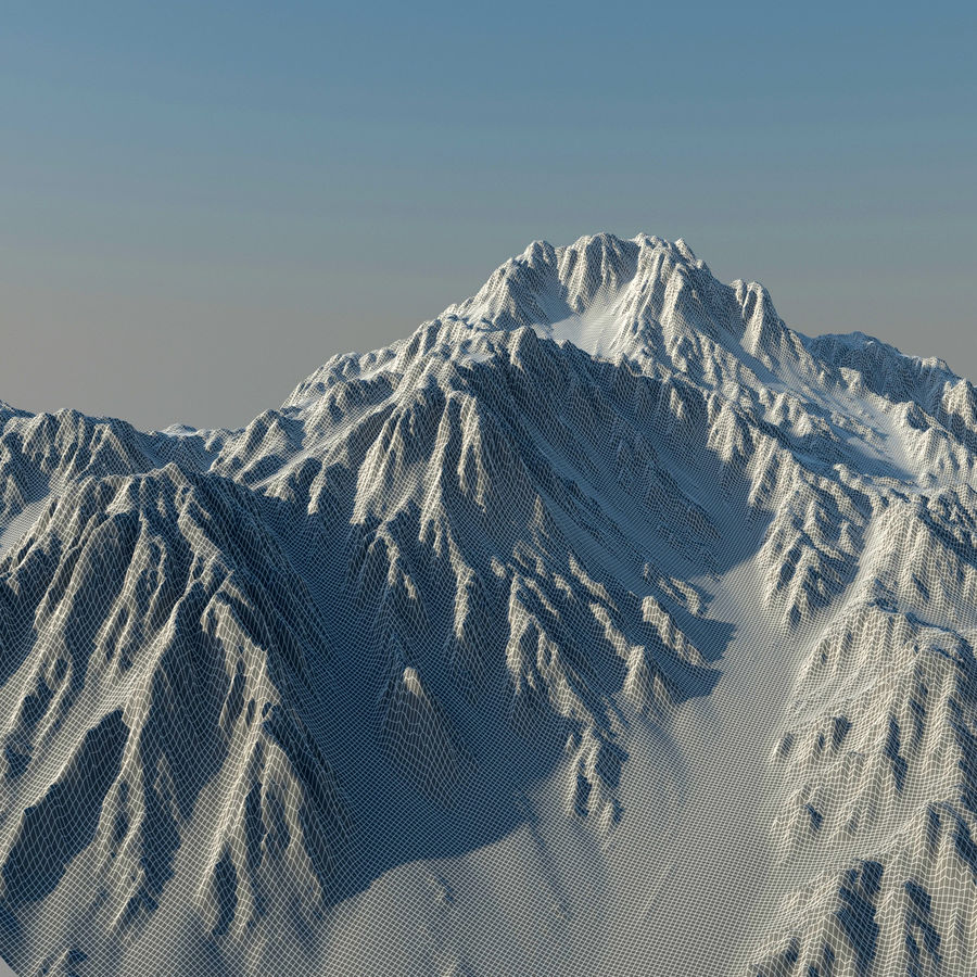 Mountains terrain royalty-free 3d model - Preview no. 9