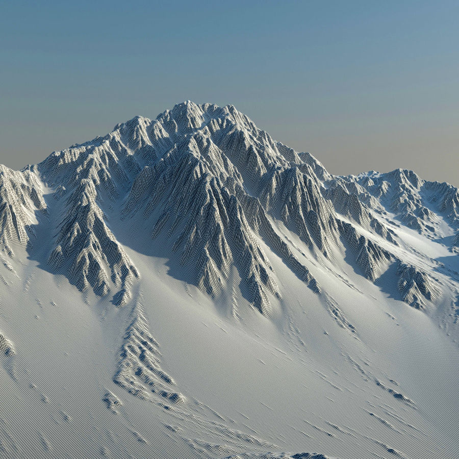 Mountains terrain royalty-free 3d model - Preview no. 8