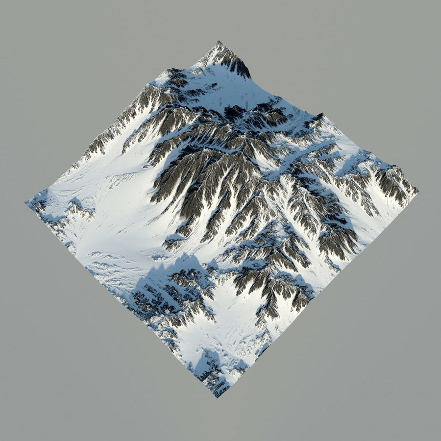 Mountains terrain royalty-free 3d model - Preview no. 2