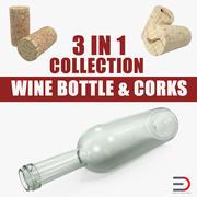 Wine Bottle and Corks 3D模型收藏 3d model