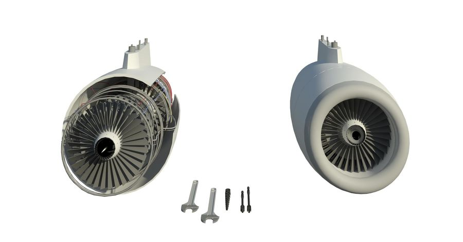 Jet Engine royalty-free 3d model - Preview no. 4
