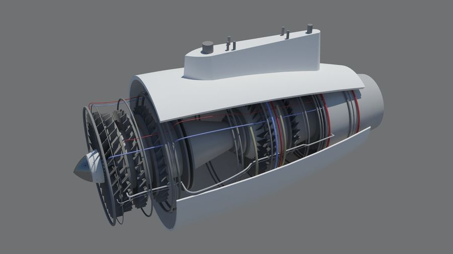 Jet Engine royalty-free 3d model - Preview no. 7