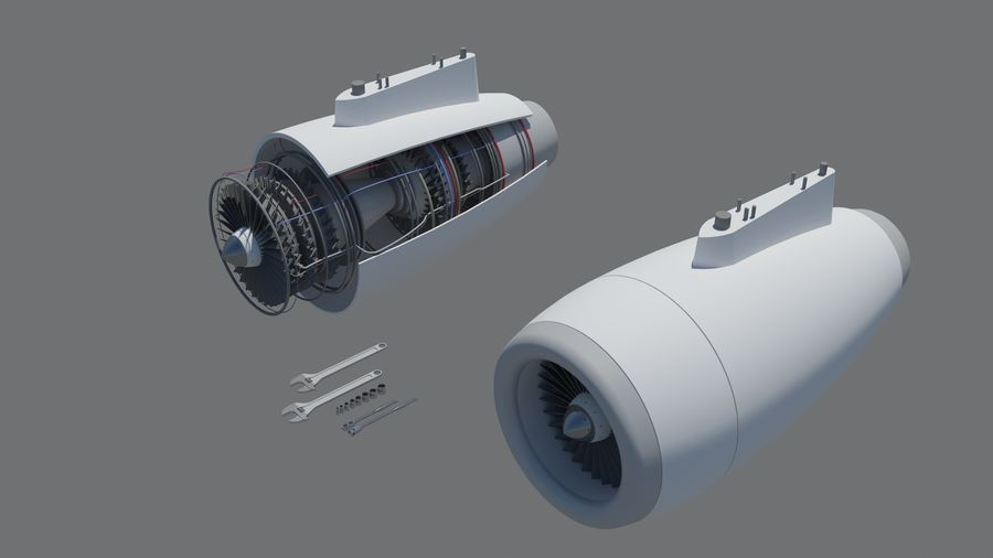 Jet Engine royalty-free 3d model - Preview no. 1