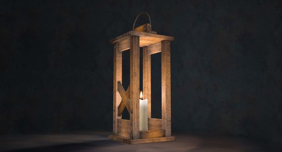 Candle lantern royalty-free 3d model - Preview no. 22