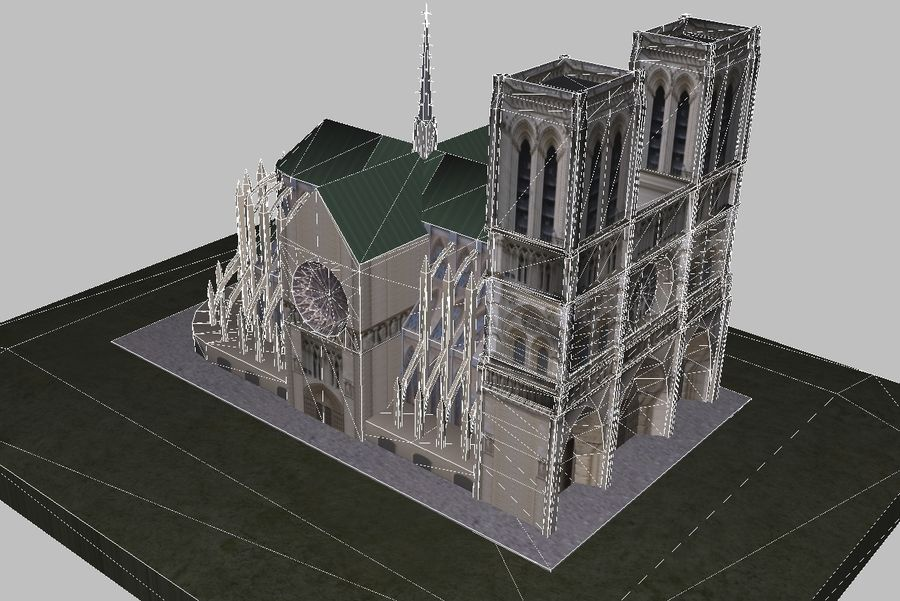 Notre Dame royalty-free 3d model - Preview no. 4