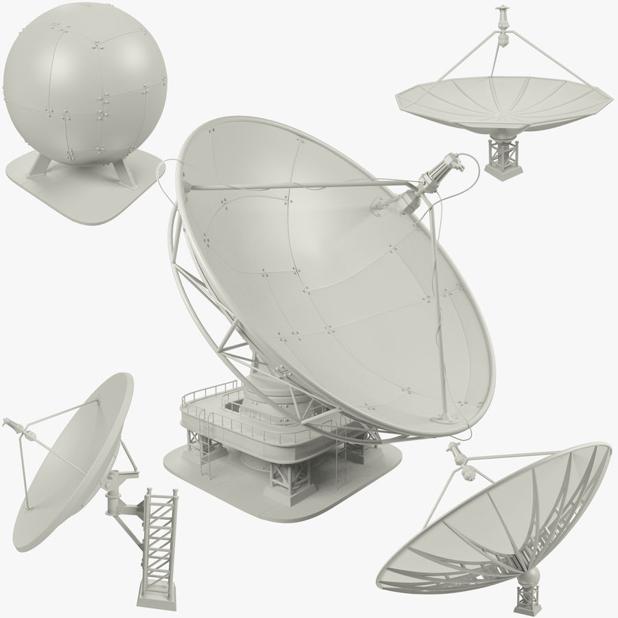Satellietschotel Set royalty-free 3d model - Preview no. 1