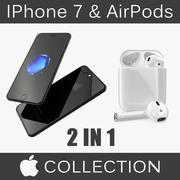Coleção de modelos IPhone 7 Plus Jet Black e AirPods 3D 3d model