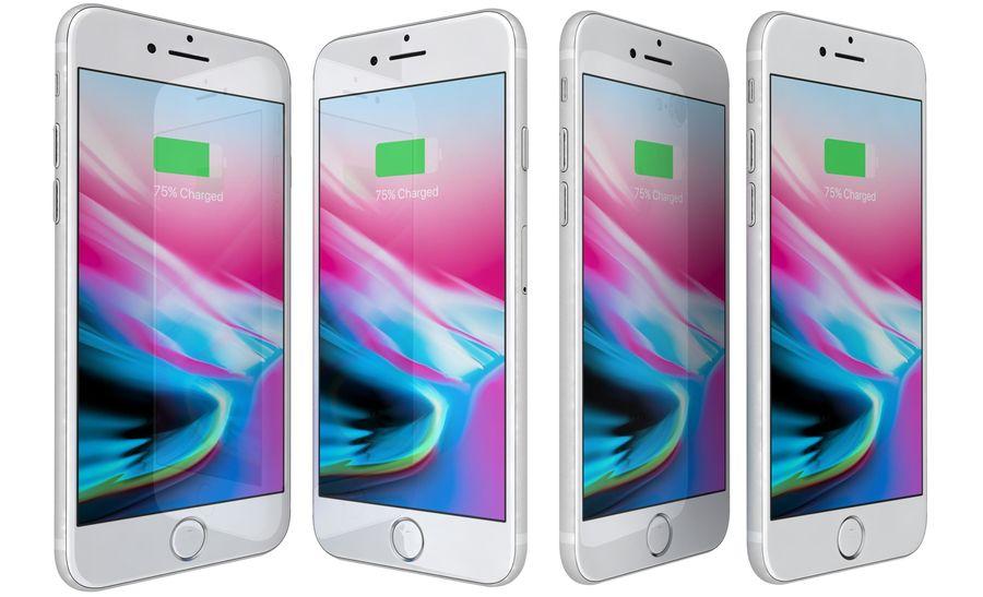 Apple iPhone 8 Gümüş royalty-free 3d model - Preview no. 4