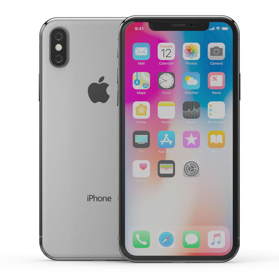 Apple iPhone X Silver and Space gray royalty-free 3d model - Preview no. 3