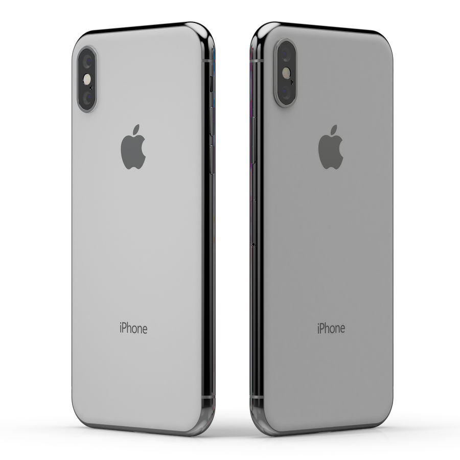Apple iPhone X Silver and Space gray royalty-free 3d model - Preview no. 9
