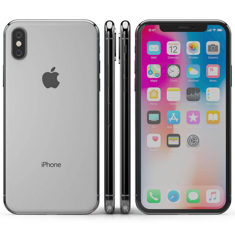 Apple iPhone X Silver and Space gray royalty-free 3d model - Preview no. 7