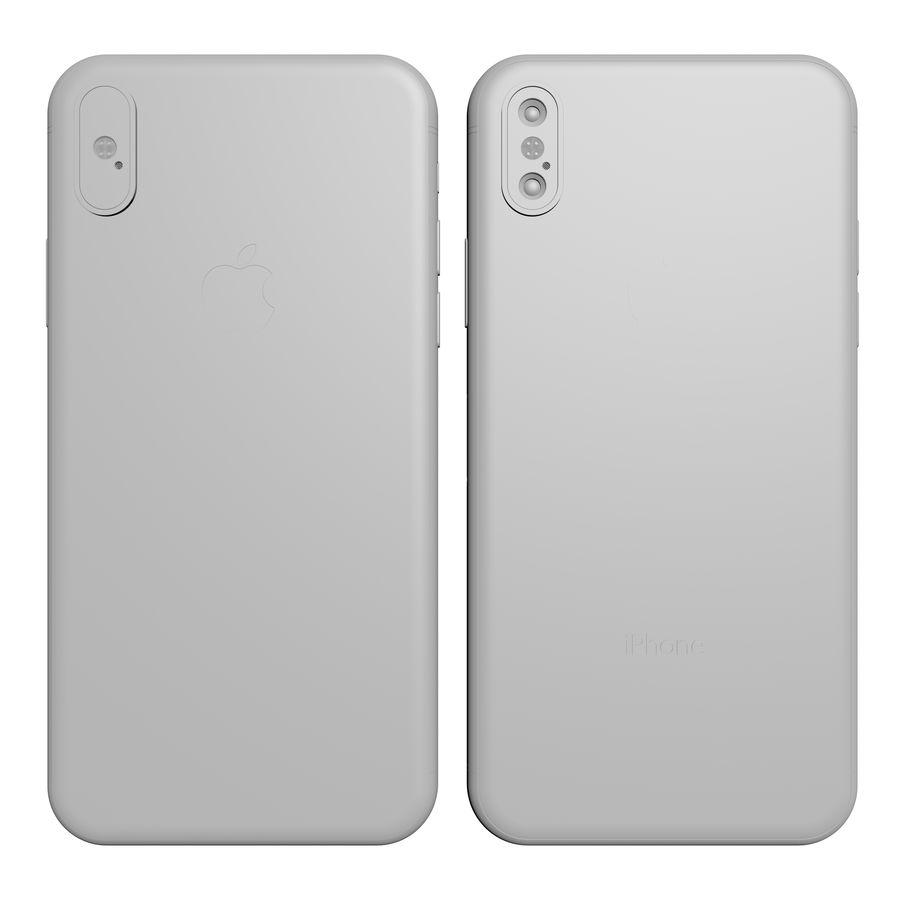 Apple iPhone X Silver and Space gray royalty-free 3d model - Preview no. 25