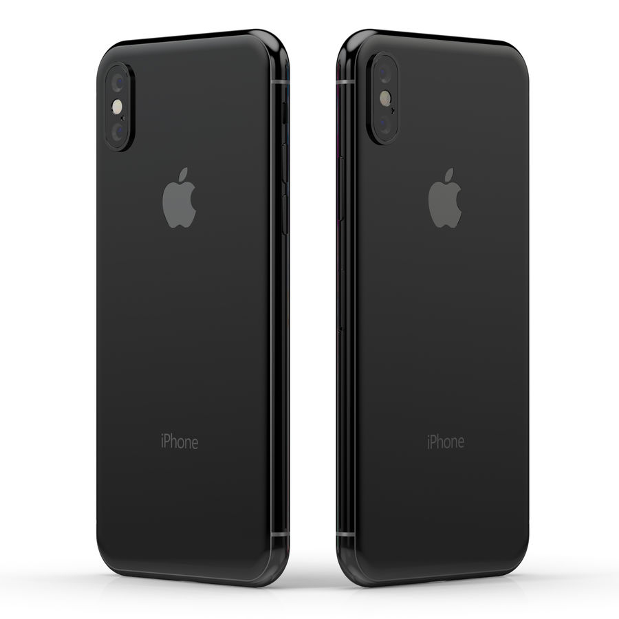 Apple iPhone X Silver and Space gray royalty-free 3d model - Preview no. 10