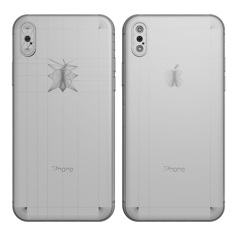 Apple iPhone X Silver and Space gray royalty-free 3d model - Preview no. 26