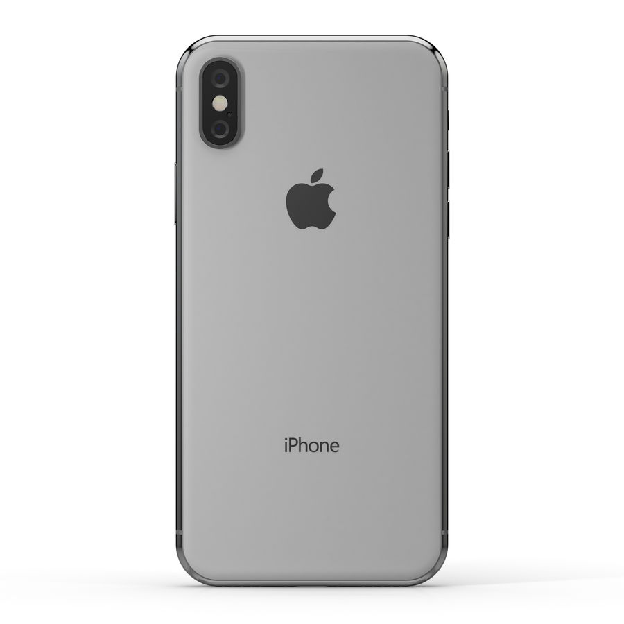 Apple iPhone X Silver and Space gray royalty-free 3d model - Preview no. 15